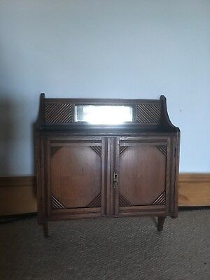 Arts And Crafts Walnut Mirrored Wall Cabinet