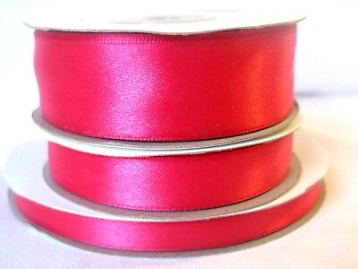 Hot Pink Double Sided Satin Ribbon - 3mm 10mm 16mm 25mm for crafts cards sewing