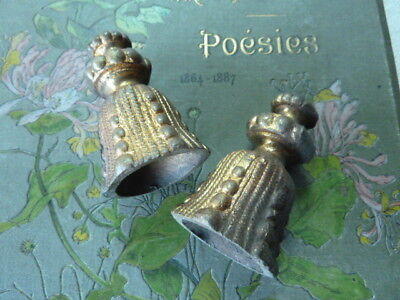Pair Antique French Chateau Bronze Ormolu Tassel Curtain Blind Light Cord Pulls