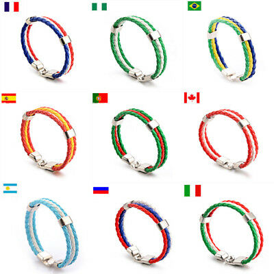 World Cup National Flag Leather Bracelet Weave Braided Handmade Rope Wristband