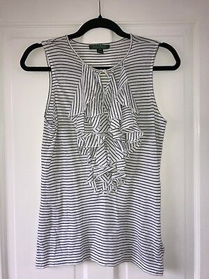 ralph lauren White And Navy frill size small top sleeveless summer ladies womens