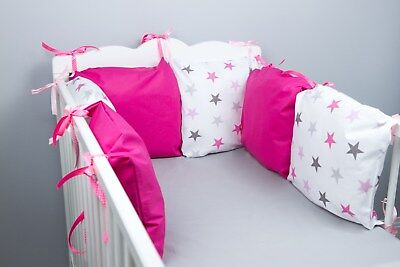 PILLOW BUMPER COT / COT BED BUMPER made from 6 cushions PINK STARS soft pillows