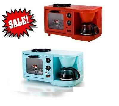 3 In 1 Mini Breakfast Pe Coffee Maker Toaster Oven Griddle All One