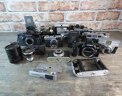 Large Job Lot Of Vintage Cameras & Lenses To Include Olympus, Minolta & Praktica