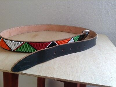 African-Arena Maasai Masai Handcrafted Ethnic Tribal Beaded Leather Belt AA24