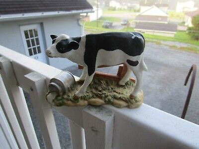 Vintage Homco Home Interior Black & White Calf with Spilled Milk Figurine #1459