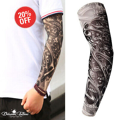 Temporary Tattoo Sleeve Nylon Stocking Arm Warmer 3D Skull Mens Women Sports