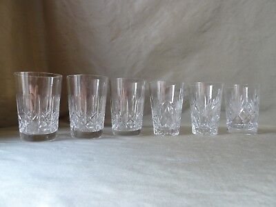 6 Vintage Crystal Shot Glasses/Tumblers, Mixed Lot, h 9cm