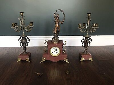 Late 19th Century French 3 Piece Bronzed Spelter Garniture, Centre With Clock