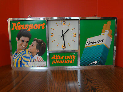 Vintage NEWPORT Cigarette Clock Tested and Working Quartz Wall Clock ~FAST S/H~