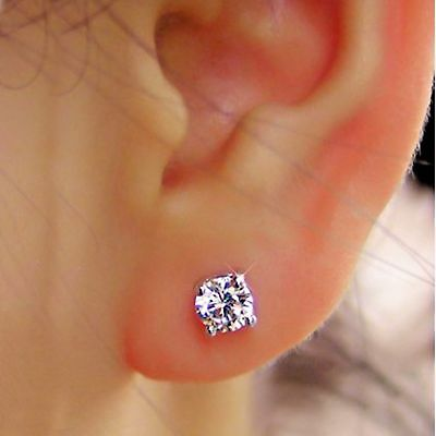 Real 1 Carat Round Cut Diamond Earrings Studs 14k Solid White Gold H I Vs1