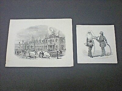 TWO SMALL VICTORIAN FIRE FIGHTING PRINTS. ORIGINAL 19th CENTURY ENGRAVINGS