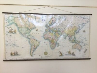 French vintage fabric world map 1964