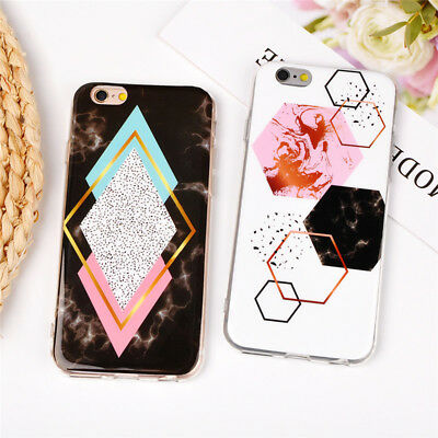 Geometry Splice Pattern Marble Soft tpu Phone case for iphone 6 6s 7 8 plus X 5S