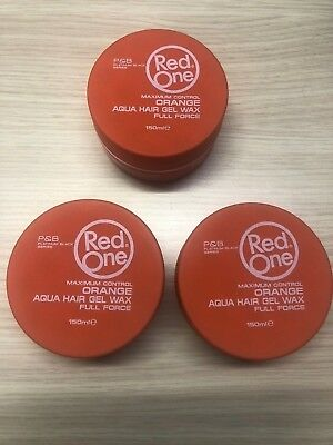 3 X Cire Coiffante Red One Orange Aqua Wax 150 Ml