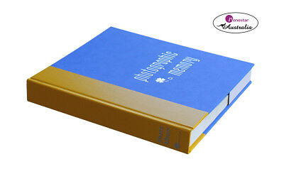 "Monesta Leather Slip-In Photo Album, Naxos Yellow Blue (holds 120 photos 5""x7"")"