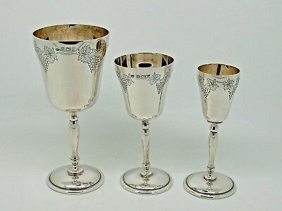 Antique Silver Goblets Set of Three Graduated Birmingham 1968 – Charles S Green