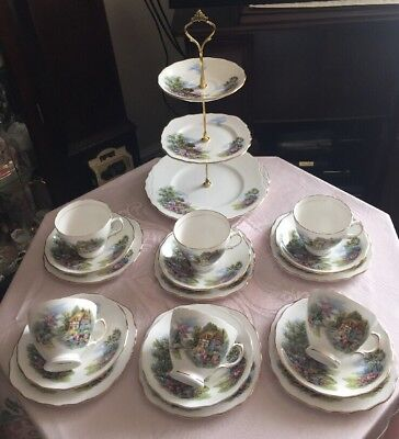 Pretty Vintage Royal Vale Bone China Tea Set Thatched Cottage New Price