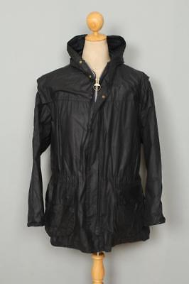 BARBOUR Durham Hooded WAXED Jacket Navy Size 46 XLarge