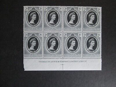 QEII 1953 Coronation British Solomon Is Blk of 8's with Printers Logo MNH.