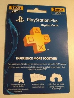 Sony PlayStation Plus Membership Card [ 3 Month ] (PS3 / PS4 / PS VITA) NEW