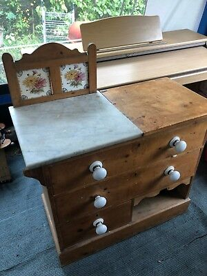 Antique Pine Victorian Wash-stand With Original Tiles And Marble Top