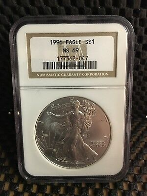 1996 American Silver Eagle S$1 NGC MS69