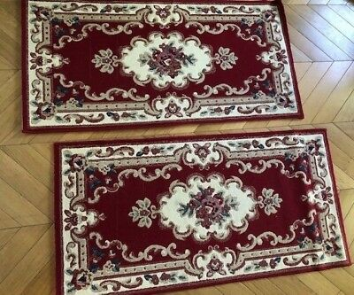 Pair of Red vintage Chinese carved rugs - red