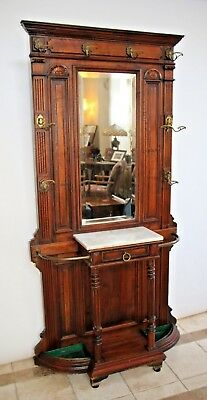 Antique Victorian Hall Tree Marble Top Glove drawer umbrella hat stand coat rack