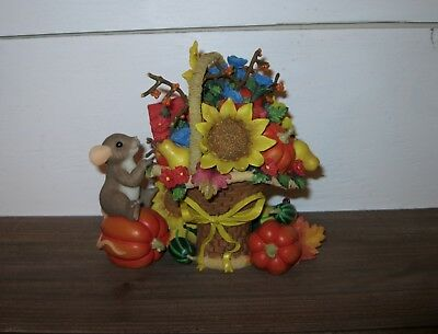 Charming Tails There's Always Time to Visit a Friend Fall Pumpkin Basket Figure