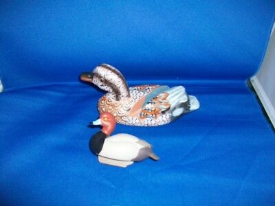 ducks (2) JETT BRUNET 2012 MINITURE ,HAND CARVED WOOD CARD HOLDER 7""