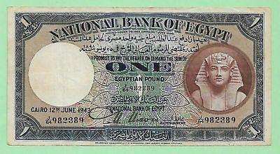1943 National Bank Of Egypt 1 Pound, P-22c, Signed by Nixon, J/64, S. # 982389