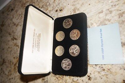 RUSSIA USSR 1992 BARCELONA OLYMPIC PROOF 6 COIN SET IN HARDSHELL BOX W/ COA Rare