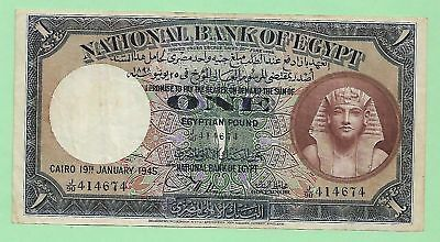 1945 National Bank Of Egypt 1 Pound, P-22c, Signed by Nixon, J/90, S. # 414674