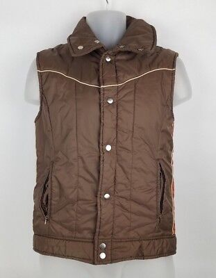 Vintage Sears Puffer Vest Unisex Size Small Brown and Red Retro Cool Colors!