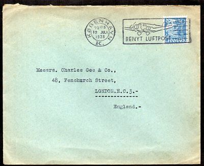 Denmark - 1938 Commercial Airmail Cover to England