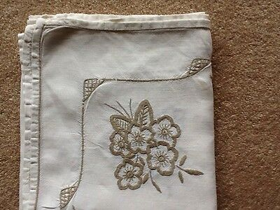 Vintage Cream Square Hand Embroidered Floral Linen Tablecloth 78 X 82 cms