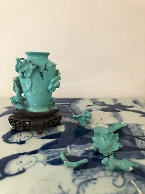 Chinese snuff bottle carved from solid turquoise Fine Decoration Rare