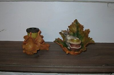 Charming Tails Set of 2 CandleHolders Candle Leaves Silvestri Figures Fall
