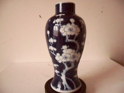 "ANTIQUE 19TH C CHINESE PORCELAIN VASE BLUE AND WHITE PRUNUS  KANGXI  MARK 9"" ins"
