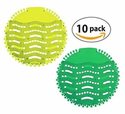 Fresh Urinal Screen & Deodorizer (10-Pack) with 2 Scents (Apple & Lemon) | Ideal