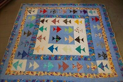 Handmade Baby Boy Crib Quilt All The Fishes In The Deep Blue Sea
