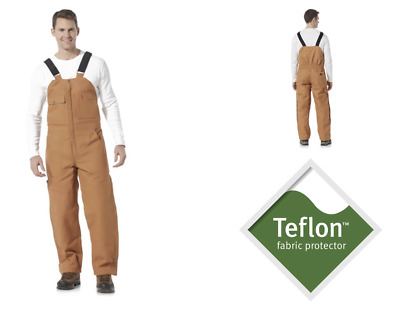 Mens Craftsman Insulated Bib Overall - Teflon Winter Work Overalls Brown L