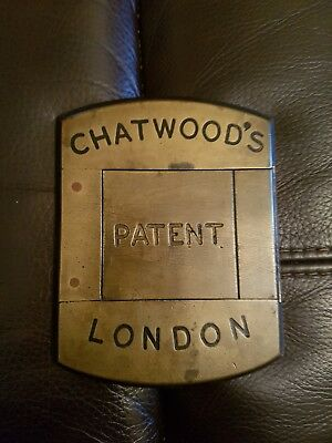 Vintage Solid Brass Key Hole Cover - Chatwood's Patent London Safe Key PLate