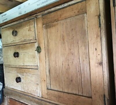 Rustic Natural Antique Pine Chest Cabinet sideboard, 3 drawers and side cupboard