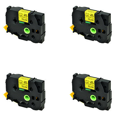 4PK For Brother PT-E500VP E550WVP HSe641 Heat Shrink Tube Black on Yellow 17.7mm