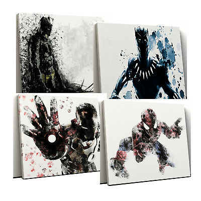 Superhero Marvel Avengers / DC characters splatter Framed Canvas Print Wall Art