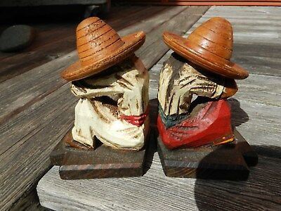 LOT OF TWO,VINTAGE,WOOD CARVING& PAINTED,MAN W/SOMBRERO Mexican Folk Art,