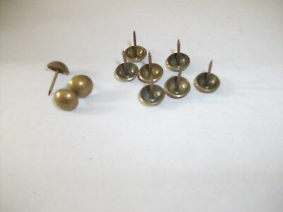 """10 BRASS PLATED TACKS 7/16"""" round head furniture nails vintage upholstery"""
