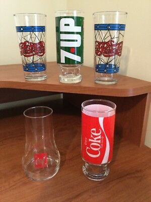 Vintage Pepsi, 7-up And Coke Glasses